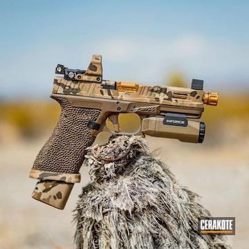 Cerakoted Glock Handgun With Arid Multicam