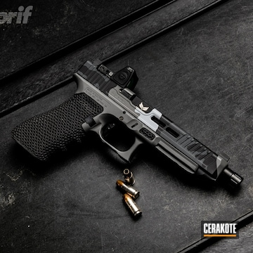 Cerakoted Custom Glock Handgun With A Grey Cerakote Camo Finish