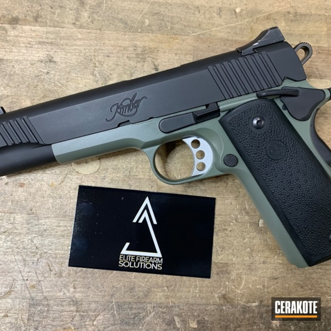 Cerakoted: S.H.O.T,Jungle E-140,Kimber 1911 Custom II,Kimber 1911,.45 ACP,Graphite Black H-146,Kimber,Two Tone,Pistol,Jungle E-140G,Gun Coatings,1911