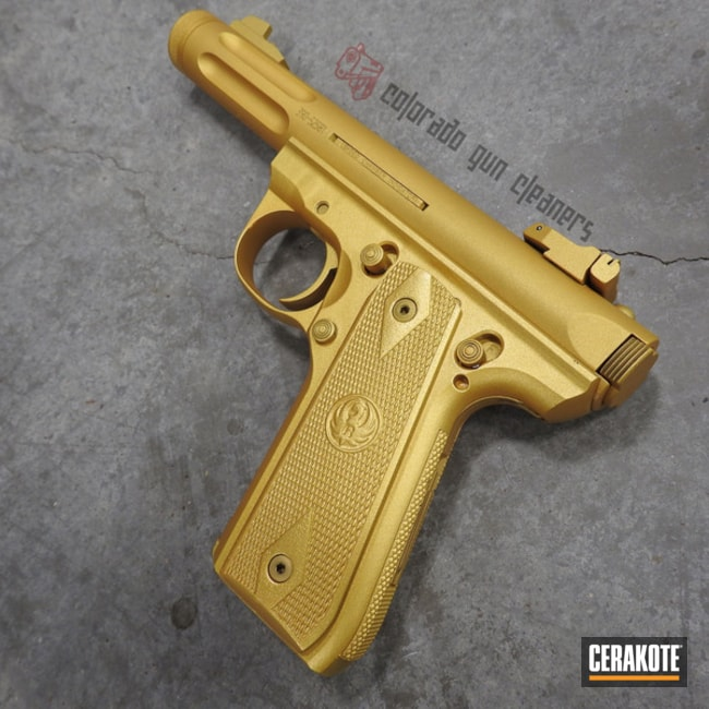 Ruger 22/45 Handgun with a Gold Cerakote / Gun Candy Finish