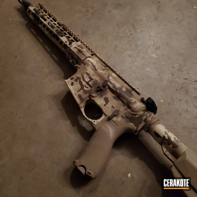 Cerakoted: S.H.O.T,Arid MultiCam,Tactical Rifle,Arid,Custom Camo,MultiCam,Desert Sand H-199,Patriot Brown H-226,Camo,BENELLI® SAND H-143,Gun Coatings,Chocolate Brown H-258,AR-15