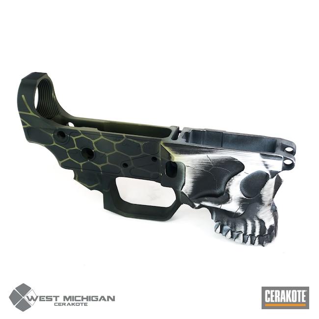 Cerakoted: S.H.O.T,Skull,Kryptek,AR Lower Receiver,Lower,Spike's Tactical,Graphite Black H-146,Zombie Green H-168,Stormtrooper White H-297,Gun Coatings