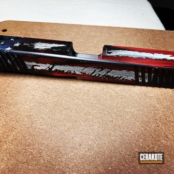 Cerakoted Cerakote Tattered American Flag Pistol Slide