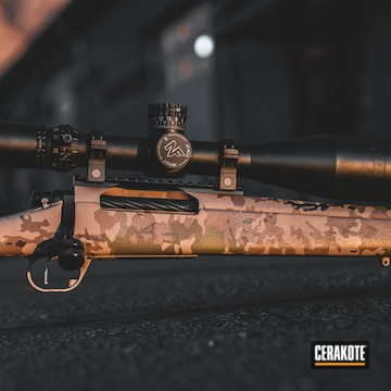 Cerakoted Bolt Action Rifle With An Arid Multicam Finish