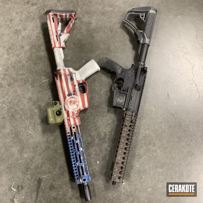 Tactical Rifles with Custom American Flag and Colid Tone Cerakote Finish