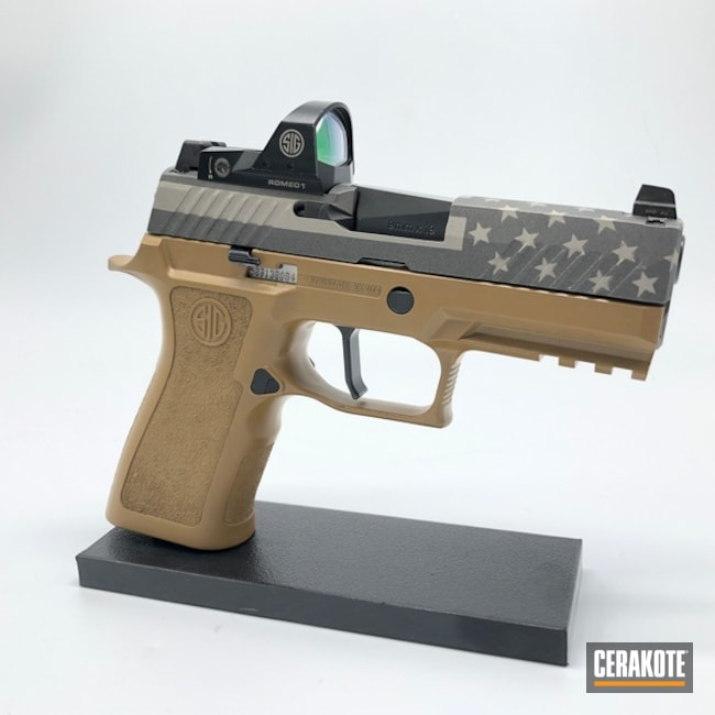 Sig Sauer P320 Handgun with a Grey American Flag Finish