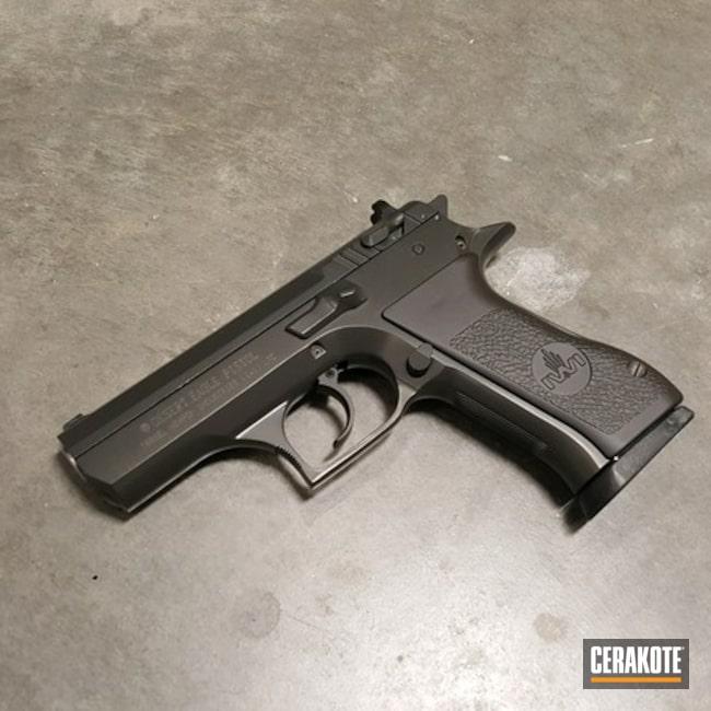 Cerakoted: S.H.O.T,.45,Desert Eagle,.45 ACP,Two Tone,Armor Black H-190,Pistol,IWI,Smoke E-120,Gun Coatings,Bi-Tone