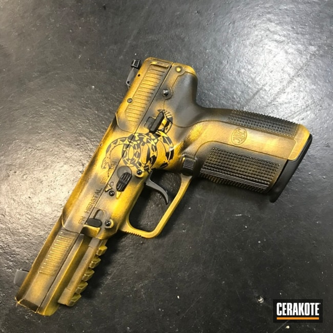 Cerakote Don't Tread On Me Themed FN Five-Seven Handgun