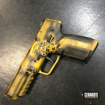 Cerakoted Cerakote Don't Tread On Me Themed Fn Five-seven Handgun