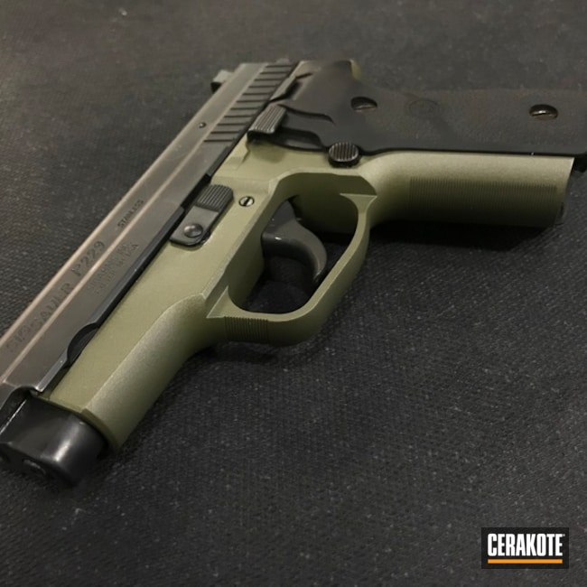 Two Toned Sig Sauer P229 Cerakoted with H-146 and H-296