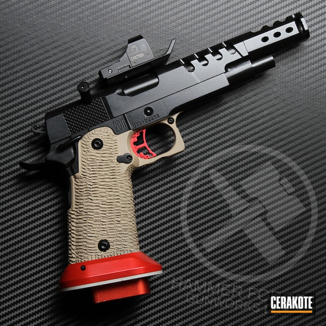 Custom STI 1911 Handgun Cerakoted with Cerakote H-146, H-142, H-167 and MC-160