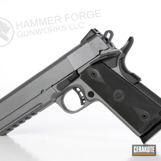 Two Toned Cerakote 1911 Rock Island Armory Handgun with a Laser Engraved Alpaca