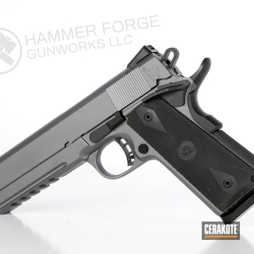 Cerakoted Two Toned Cerakote 1911 Rock Island Armory Handgun With A Laser Engraved Alpaca