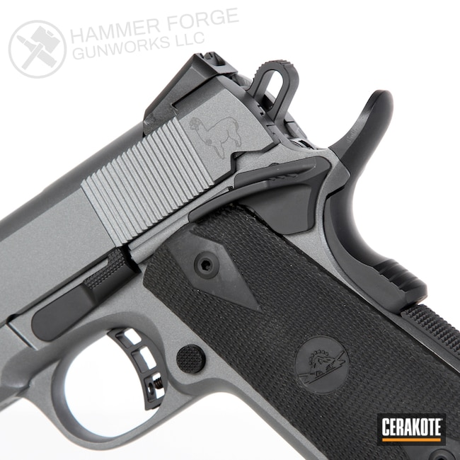 Cerakoted: S.H.O.T,Rock Island Armory 1911,.45 ACP,Two Tone,Pistol,Laser Engrave,Alpaca,Graphite Black H-146,Laser Imaging,Concrete E-160,Concrete E-160G,Gun Coatings,1911,Custom Lasering