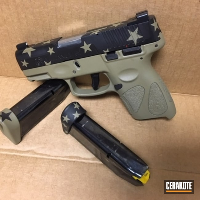 Cerakoted: SHOT,9mm,Coyote Tan H-235,Stars,Graphite Black H-146,Taurus PT111 G2,Two Tone,Pistol,Gun Coatings,Taurus