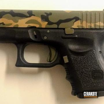 Cerakoted Glock 26 Woodland Camo Finish Using Cerakote H-146, H-225, H-247 And H-231