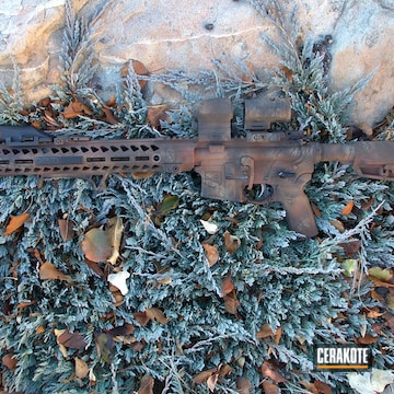 Cerakoted Ar-15 Rifle With A Custom Cerakote Brush Camo Finish