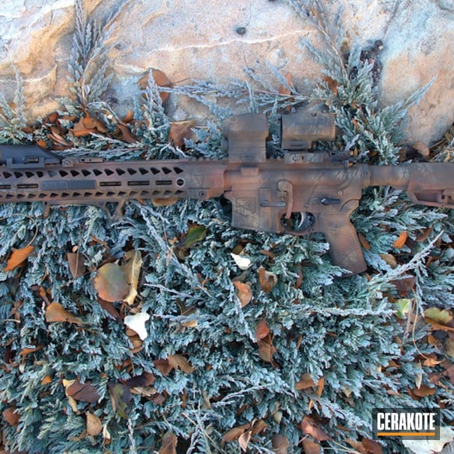 Cerakoted: S.H.O.T,Diamondback Firearms,Mud Brown H-225,Tactical Rifle,Gun Coatings,Brush Camo,Copper Brown H-149,AR-15