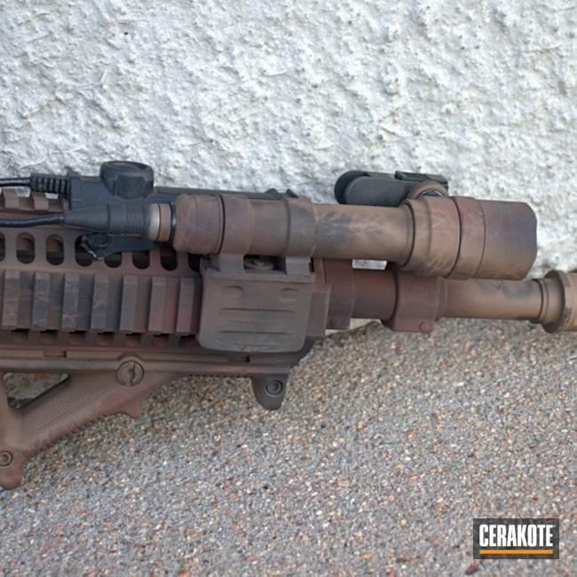Cerakoted: S.H.O.T,Daniel Defense,Mud Brown H-225,Graphite Black H-146,Tactical Rifle,Gun Coatings,Brush Camo,Copper Brown H-149,AR-15