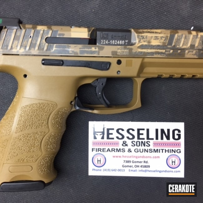 Custom Cerakote Camo Finish on this HK VP9 Handgun