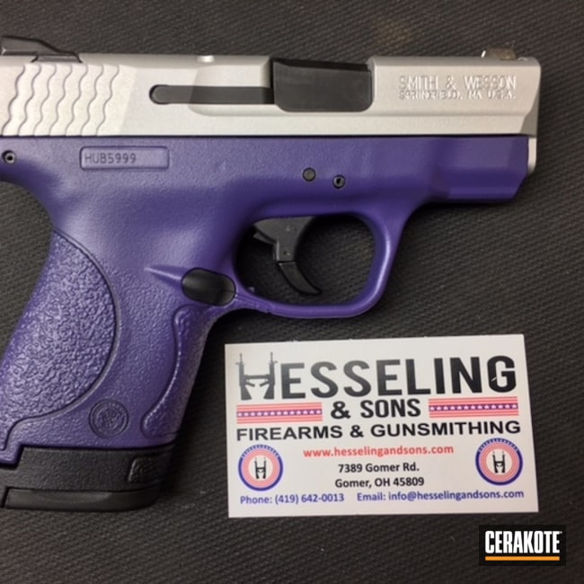 Cerakoted: SHOT,Bright Purple H-217,Two Tone,Smith & Wesson,Satin Aluminum H-151,Pistol,Gun Coatings,M&P Shield
