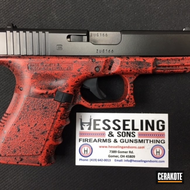 Cerakoted: SHOT,Glock 19,Battleworn,Gloss Black H-109,USMC Red H-167,Pistol,Glock,Spatter Pattern,Gun Coatings