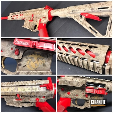 Cerakoted Usmc Themed Freehand Camo Rifle