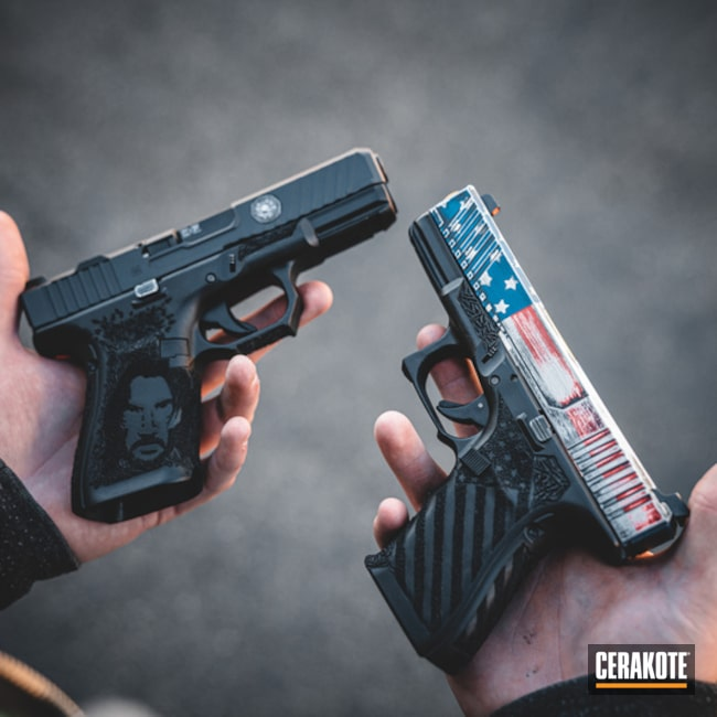 "Thumbnail image for project ""American Flag and John Wick Themed Glock Handguns"""