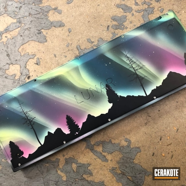 Cerakoted Aurora Borealis Themed Computer Keyboard Finish