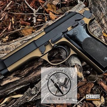 Cerakoted Two Toned Beretta 92s Handgun Using Cerakote H-146 And H-148