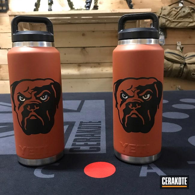 Cerakoted: Custom Mix,Football,Graphite Black H-146,YETI Cup,YETI,More Than Guns,Cleveland Browns,Theme,Custom Tumbler Cup,Hunter Orange H-128,SMITH & WESSON® RED H-216,Chocolate Brown H-258