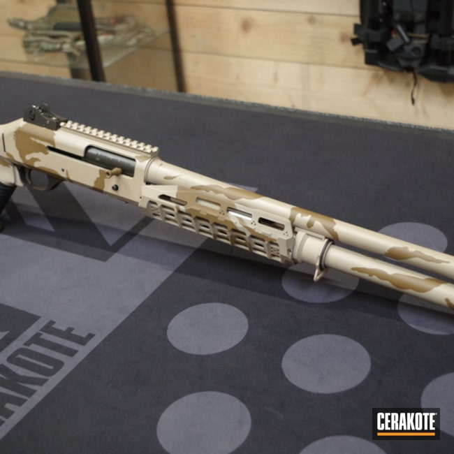 Cerakoted: S.H.O.T,Shotgun,Mud Brown H-225,Desert Sand H-199,Benelli,UK DPM,Gun Coatings,A.I. Dark Earth H-250