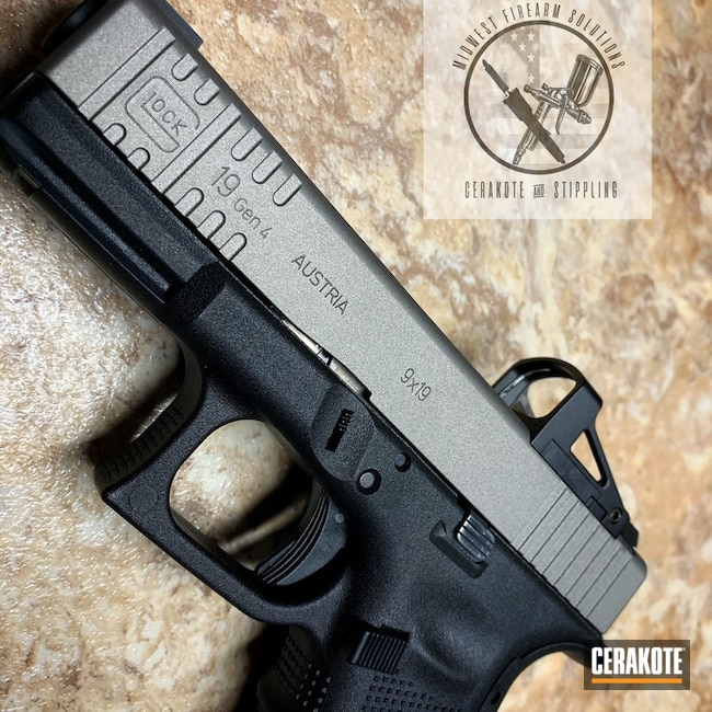 "Thumbnail image for project ""Glock 19 Handgun with a Two Toned Cerakote H-170 and H-148 Finish"""