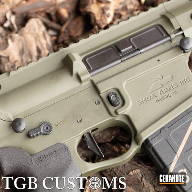 Cerakoted: SHOT,Custom Mix,SMOS Arms,Mil Spec O.D. Green H-240,Two Tone,Tactical Rifle,O.D. Green H-236,Gun Coatings,AR-15