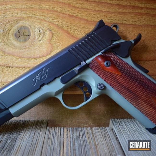 Cerakoted: S.H.O.T,Jungle E-140,Kimber 1911 Custom II,Cerakote Elite Series,BLACKOUT E-100,Kimber 1911,Kimber,Two Tone,Pistol,Kimber Custom,Jungle E-140G,Gun Coatings