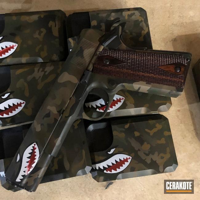 Cerakoted: S.H.O.T,MultiCam,Pistol,Gun Coatings,MAGPUL® O.D. GREEN H-232,Shark Mouth,Jesse James Eastern Front Green H-400,A.I. Dark Earth H-250