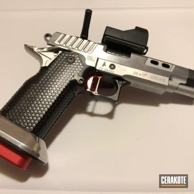 Cerakoted: S.H.O.T,CK Arms,2011 Grip,Graphite Black H-146,STI,Stippled,Pistol,Cheely Custom Gunworks,Gun Coatings,DVC Steel,Cheese Grater