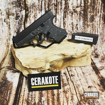 Cerakoted Stippled Glock 42 With Frame Cuts Cerakoted With E-160
