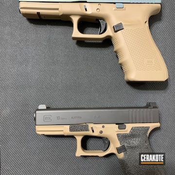 Cerakoted Glock 19 And Glock 21 Frames Cerakoted With H-265 With Slides In H-146 And H-315