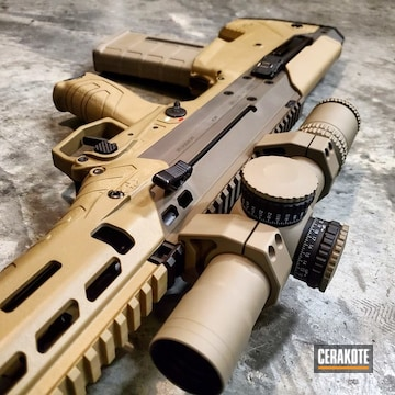 Cerakoted Two Toned Bullpup Rifle Cerakoted Using H-265 Flat Dark Earth