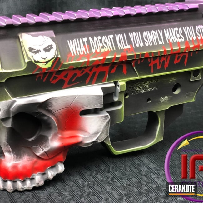 Cerakoted: S.H.O.T,Skull,The Joker,Zombie Green H-168,Wild Purple H-197,Sharps Brothers,USMC Red H-167,Tactical Rifle,Joker Themed,Bright White H-140,DC Comics,Spike's Tactical The Jack,Graphite Black H-146,Gun Coatings,Theme