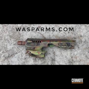 Cerakoted Glock 17 Handgun With Matching Micro Roni Conversion Kit In A Matching Cerakote Zombie Themed Finish