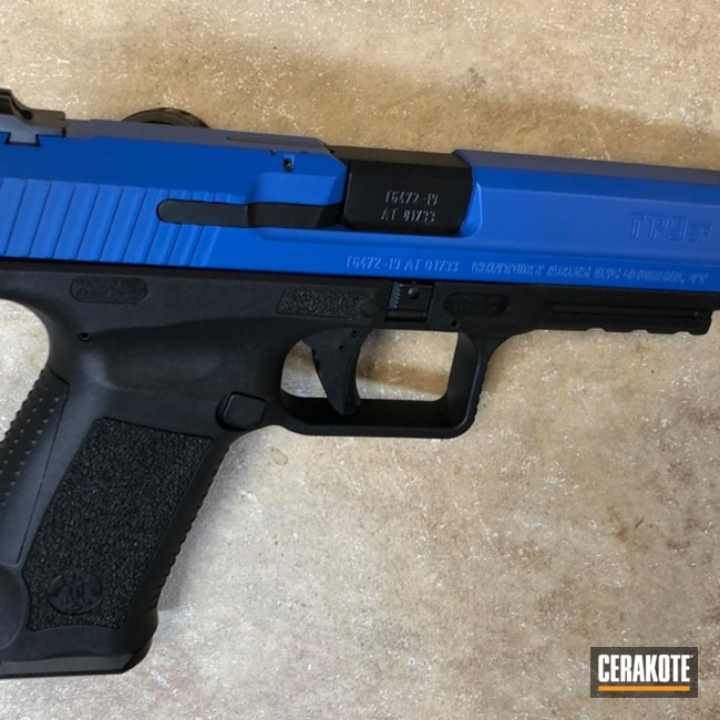 Two Tone Canik TP9 Handgun using H-171 NRA Blue