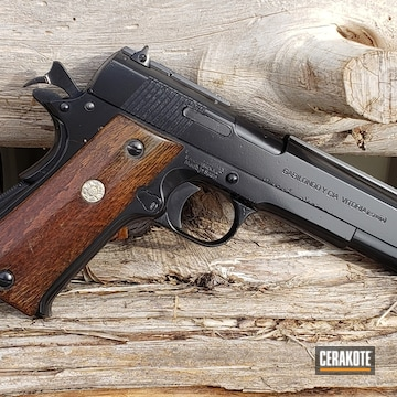 Cerakoted Refinished .45 Acp 1911 Handgun Using Cerakote E-100 Blackout