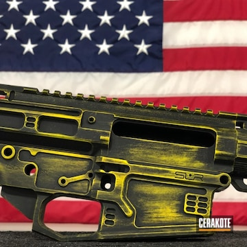 Cerakoted Ar-10 Rifle With A Distressed H-146 And H-166 Cerakote Finish