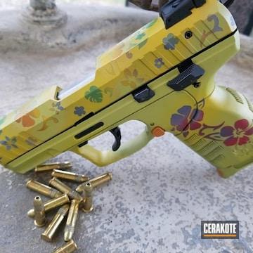 Cerakoted Ruger Sr22 Handgun With A Custom Cerakote Flower Finish