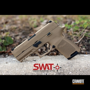 Cerakoted Sig Sauer P320 Handgun Cerakoted With H-235 Coyote Tan