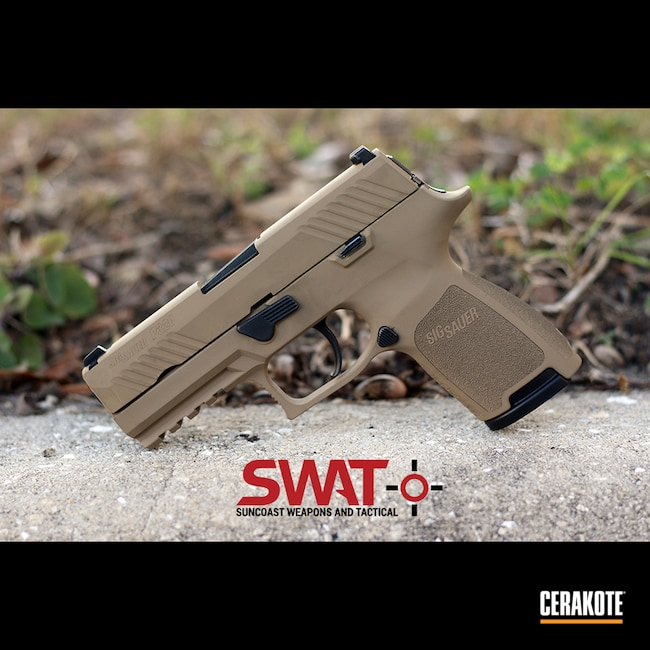 Cerakoted: SHOT,Sig Sauer P320,Sig P320,Coyote Tan H-235,.45 ACP,P320,Solid Tone,Pistol,Sig Sauer,Gun Coatings,sigsauer320