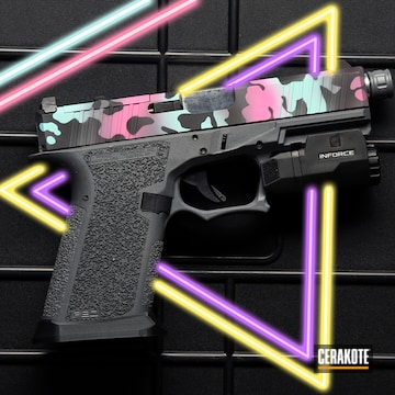 Cerakoted Glock Slide With A Cerakote Miami Vaporwave Themed Finish