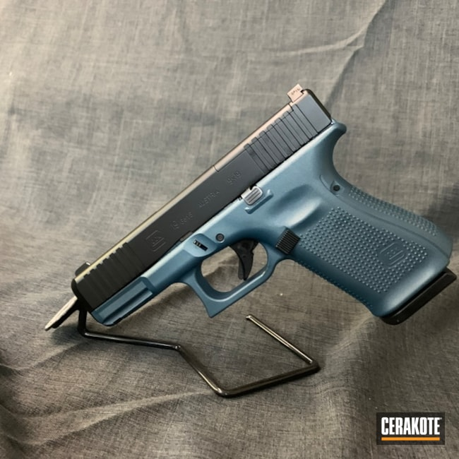 "Thumbnail image for project ""Glock 19 Frame Cerakoted in H-185 Blue Titanium"""